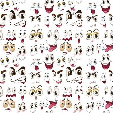 illustration of various face expressions on a white background