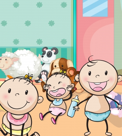 Foto de illustration of babies and animal toys in the room - Imagen libre de derechos