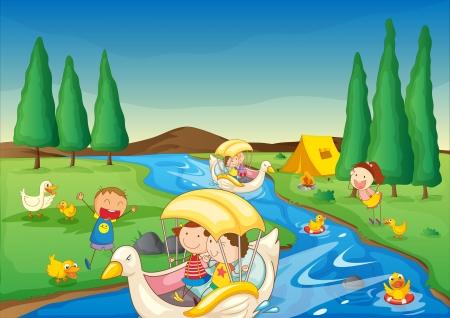 Foto de illustration of a river and kids in a beautiful nature - Imagen libre de derechos