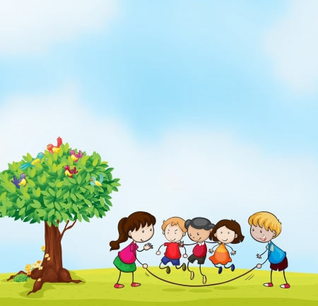 illustration of kids and a tree in beautiful nature