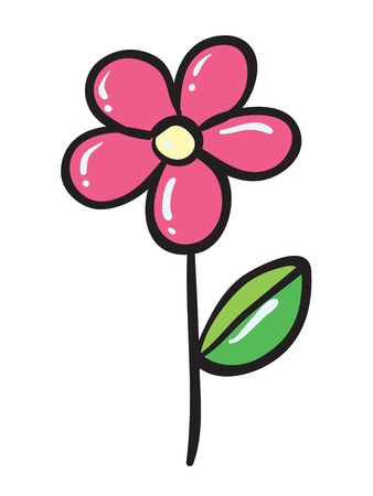 detailed illustration of a pink flower on a white background