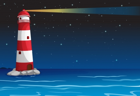 illustration of a light house in dark night