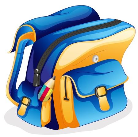 Illustration pour illustration of a school bag on a white background - image libre de droit