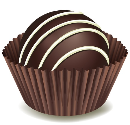 illustration of chocolates in brown cup on a white background