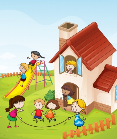 illustration of kids and a house in a beautiful nature