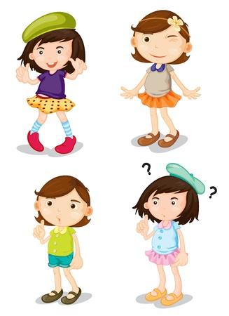 Ilustración de illustration of four girls on a white background - Imagen libre de derechos