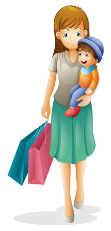 illustration of a mother and a kid on a white background