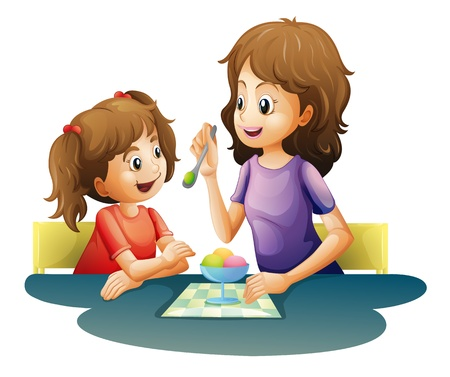 illustration of mom and kid on a white background