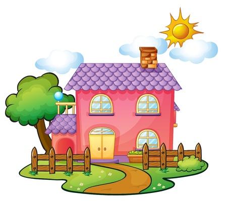 Illustration pour illustration of a house in a beautiful nature - image libre de droit