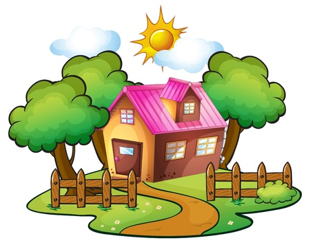 Foto de illustration of a house in a beautiful nature - Imagen libre de derechos