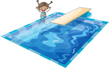 illustration of a girl and swimming tank on a white background