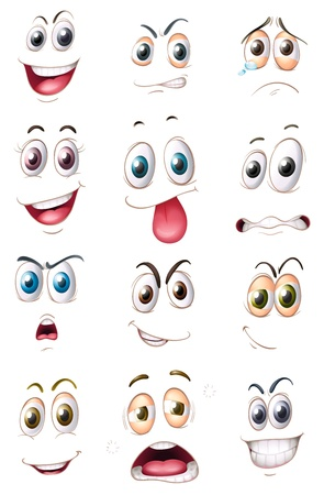 illustration of faces on a white background