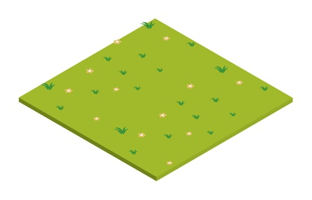 illustration of lawn isometric on a white background