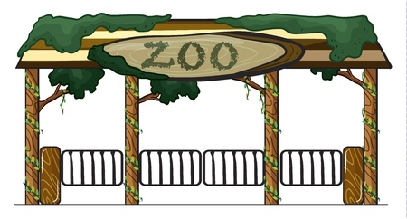 illustration of a zoo entrance on a white background