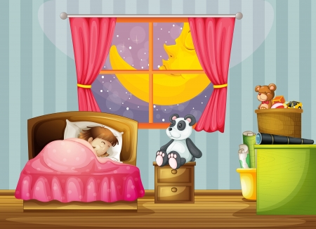 illustration of a girl in a beautiful bed room