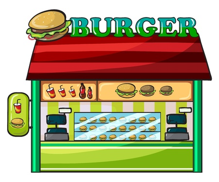 illustration of a fastfood restaurant on a white background