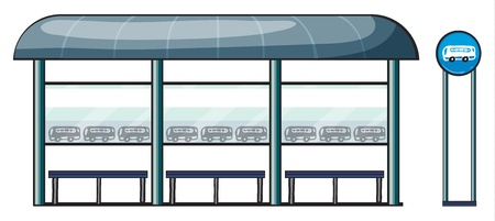 illustration of a bus stop on a white background