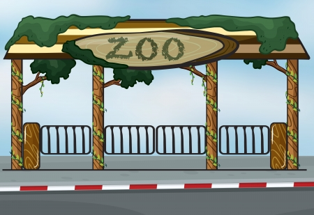 illustration of a zoo entrance near a street