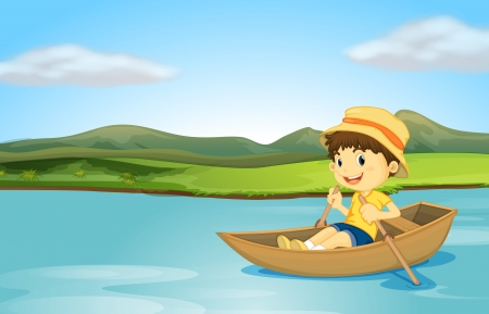 Illustration pour Illustration of a boy rowing a boat on a lake - image libre de droit