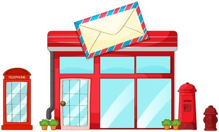 Illustration of a post office, mailbox, telephone on a white background