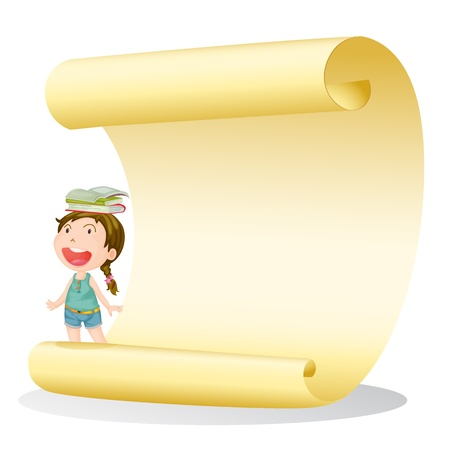 Illustration of a smiling girl and a paper sheet on a white background
