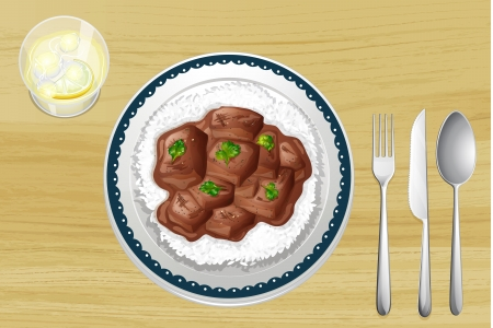Illustration of pork stew on a wooden table