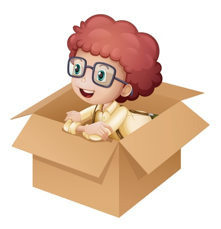 Illustration of a girl in a box on white background