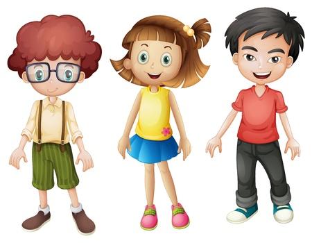 Illustration pour Illustration of smiling kids on a white background - image libre de droit