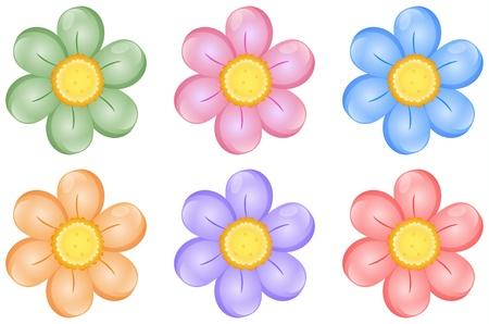 Illustration pour Illustration of colorful flowers on a white background - image libre de droit