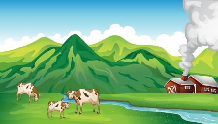 Illustration for Illustration of a farm house and cows near the mountain - Royalty Free Image