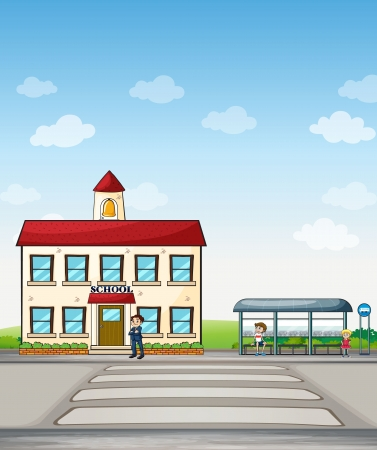 Illustration of a school and bus stop with people beside it.