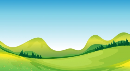 Illustration of mother nature showing the blue sky and the green land resources