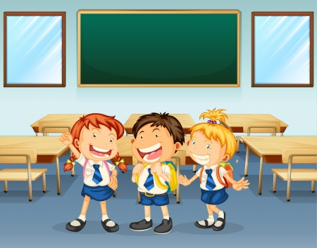 Illustration for Illustration of happy students inside the classroom - Royalty Free Image
