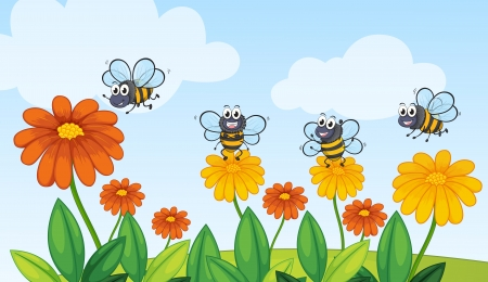 Illustration of a flying bees in beautiful nature