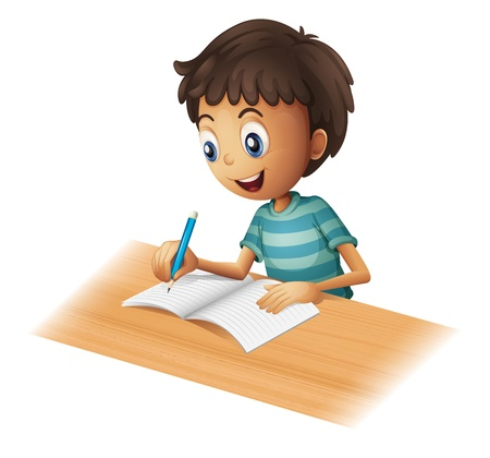 Illustration pour Illustration of a boy writing on a white background - image libre de droit