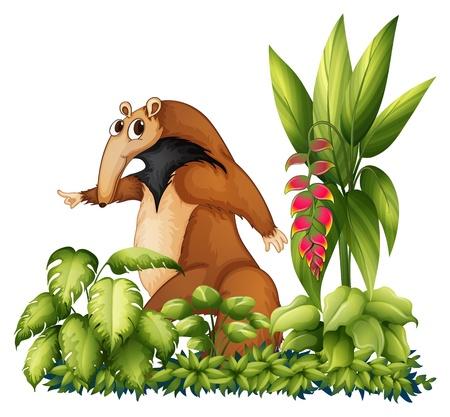 Illustration pour Illustration of an anteater with plants - image libre de droit