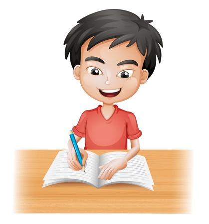 Illustration pour Illustration of a smiling boy writing on a white background - image libre de droit