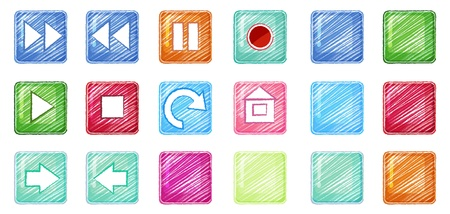Illustration of the different colorful icons on a white background