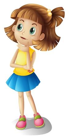 Ilustración de Illustration of a thinking girl on a white background - Imagen libre de derechos