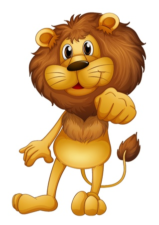 Illustration of a lion standing on a white background