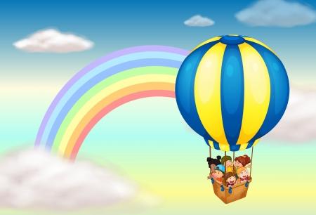 Ilustración de Illustration of a hot air balloon near the rainbow - Imagen libre de derechos
