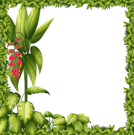 Illustration pour Illustration of a green frame with a flower on a white background - image libre de droit