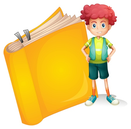 Illustration of a young curly boy and a big book on a white background