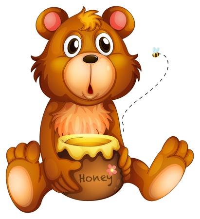 Ilustración de Illustration of a shocking face of a bear on a white background - Imagen libre de derechos