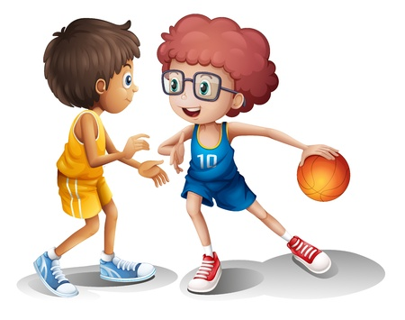 Illustration of kids playing basketball on a white background