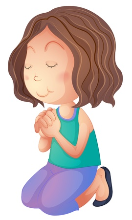 Illustration pour Illustration of a woman praying on a white background - image libre de droit