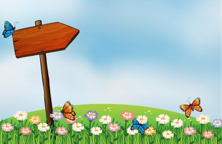 Illustration of an arrow signboard and the butterflies