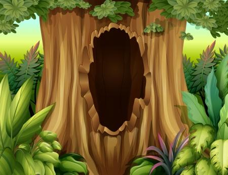 Ilustración de Illustration of a big trunk of a tree with a hole - Imagen libre de derechos