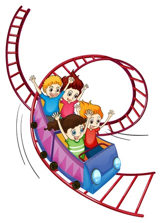 Illustration of brave kids riding in a roller coaster ride on a white background