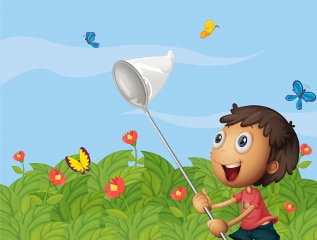 Illustration of a butterfly catcher in the garden